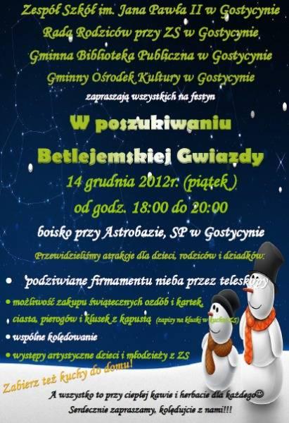 w poszukiwaniu betejemskiej gwiazdy Gostycyn 2012