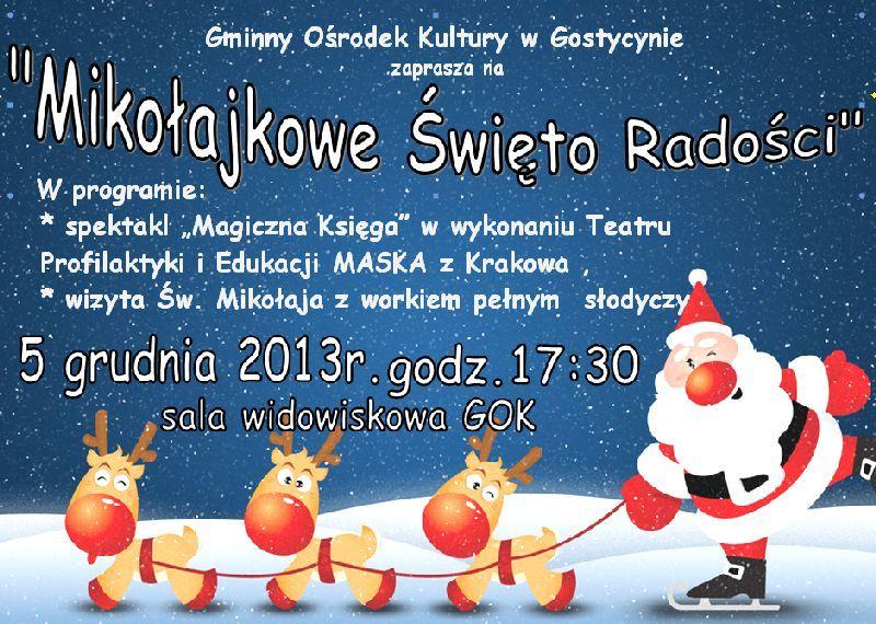 Mikołajkowe  Święto Radości 5.12.2013 GOK Gostycyn