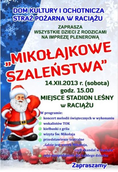 mokołajkowe szaleństwa Raciąż 14.12.2013 plakat