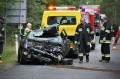 śmiertelny wypadek Audi 80 DW 237 Legbąd 14.08.2014 fot. Piotr Kozłowski 1