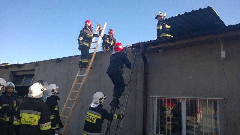 Pożar poddasza Pruszcz 29.01.2016 fot. OSP Gostycyn 3