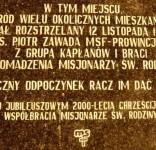 Tablica pamięci pomordowanych PATEREK