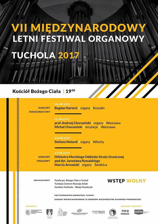 VII Międzynarodowy Letni Festiwal Organowy Tuchola 08.2017 plakat