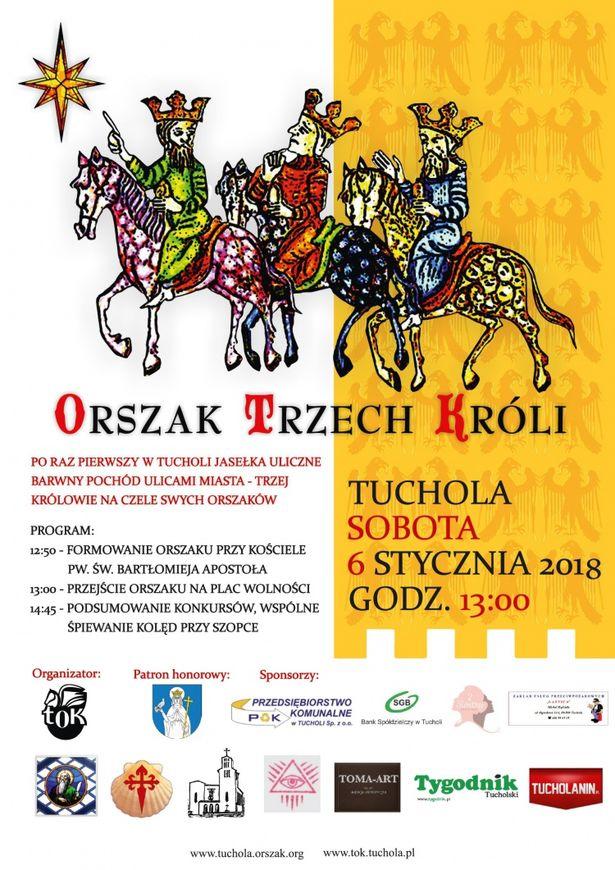 Orszak Trzech Króli Tuchola 2018 plakat