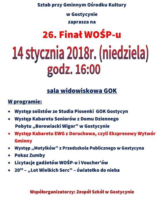 WOŚP Gostycyn 2018 plakat 3