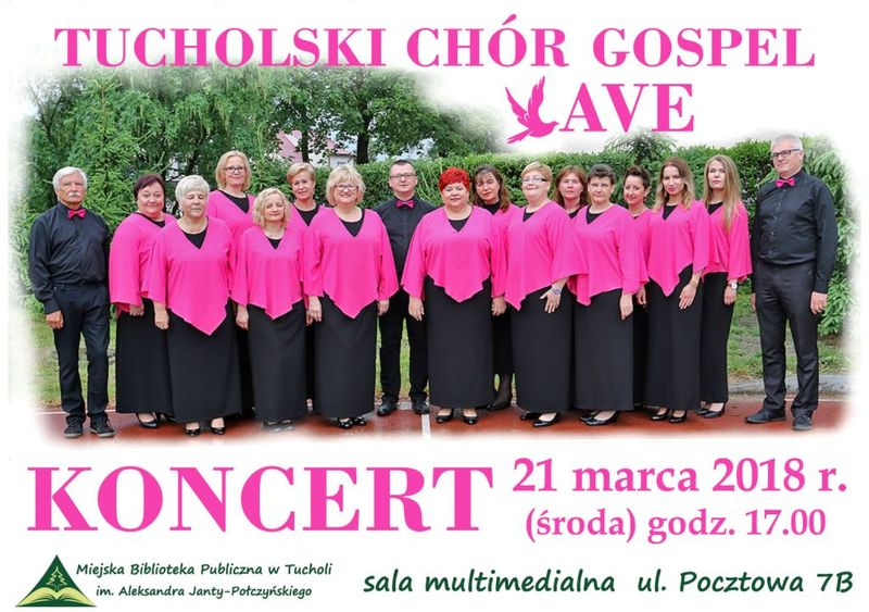 Koncert chor AVE książnica Tuchola 21.03.2018 plakat