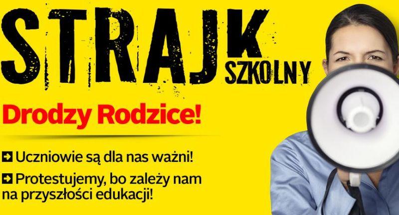Strajk nauczycieli plakat