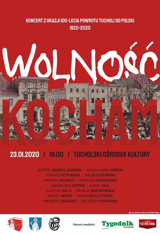Wolność kocham - koncert TOK Tuchola 23.01.2020 plakat
